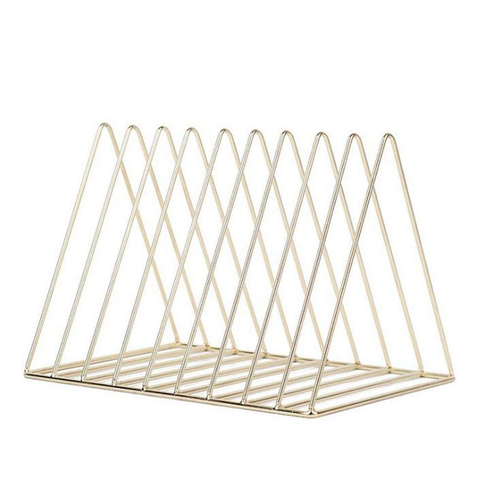 Magazine Holder Triangle Shape Document File Stand, 9 Slot Newspaper Organizer Journals Book Rack for Office or Home Decor (Gold)