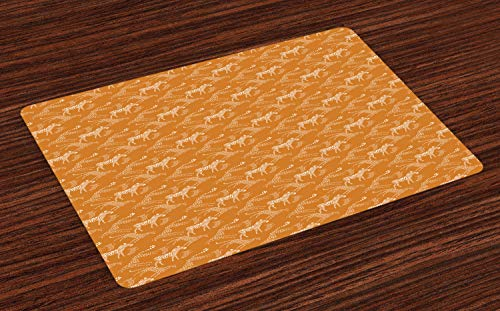 Lunarable Cheetah Place Mats Set of 4, Abstract Pattern with Savannah Animal Striped and Dotted Silhouettes, Washable Fabric Placemats for Dining Room Kitchen Table Decor, Dark Orange and White