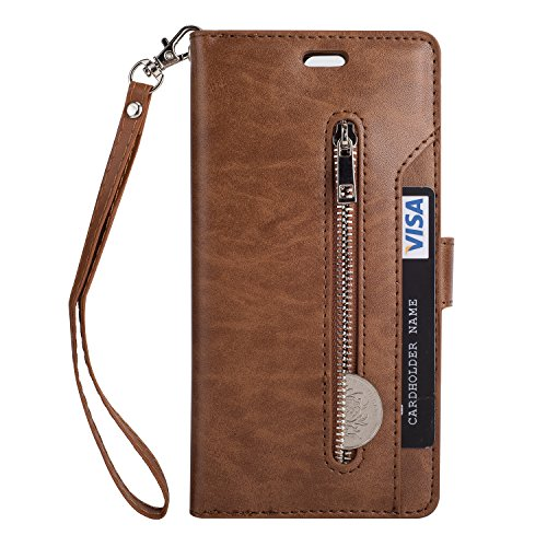 - Galaxy J3 (2016) J320/ Sky S320/ Sol J321/ Amp Prime/Express Prime Case,Folice Zipper Wallet Case [Magnetic Closure]& 9 Card Slots, PU Leather Kickstand Wallet Cover Durable Flip Case (Brown)