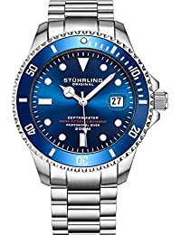 """Mens Swiss Automatic Stainless Steel Professional""""DEPTHMASTER"""" Dive Watch, 200 Meters Water Resistant, Brushed and Beveled Bracelet with Divers Safety Clasp and Screw Down Crown (Blue)"""