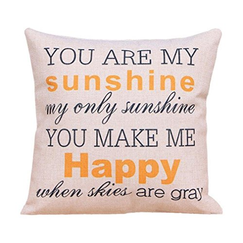 Onker Cotton Linen Square Decorative Throw Pillow Case Cushion Cover 18  X 18  You Are My Sunshine