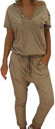 Men One Piece Jumpsuit Casual Cargo Pant Romper Long Sleeve Playsuit Loose LITG