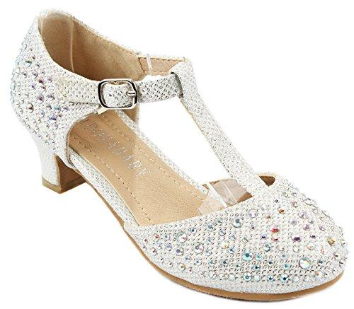 Kids Girls White Sparkling T-Strap Rhinestone Glitter Formal Dress Low Heel Pumps-10 by JJF Shoes