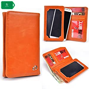 ZTE Vital N9810 -ORANGE PHONE HOLDER WALLET- INTERNAL CARD SLOTS AND FULL LENGTH BILL SLOT- UNIVERSALLY DESIGNED-
