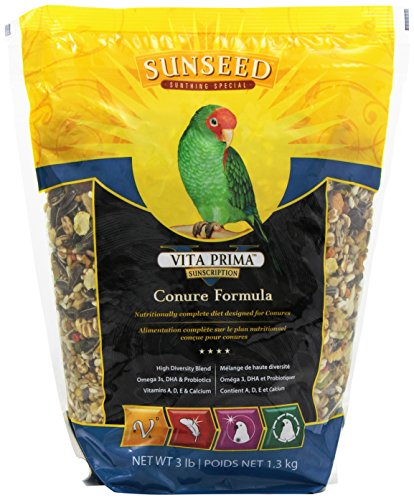 Sunseed 49040 Vita Prima Sunscription Conure Food - High-Variety Formula, 3 - Conure Bird Green Cheeked
