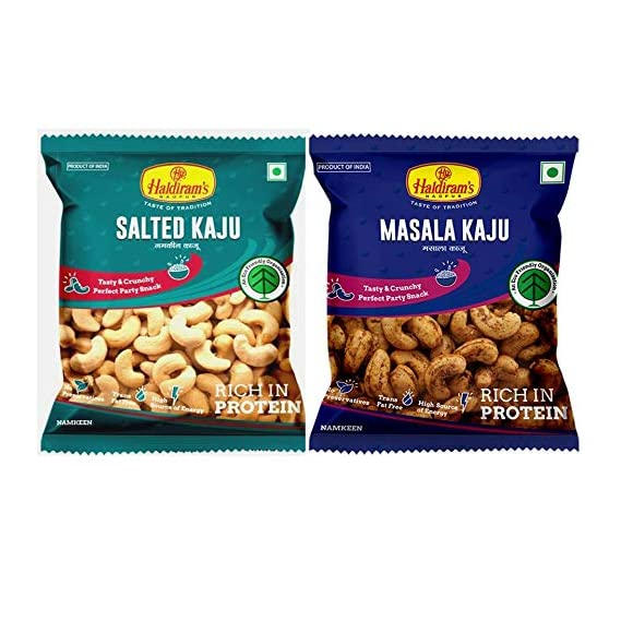 Haldiram's Salted Kaju (35 gm x Pack of 3) & Masala Kaju (35 gm x Pack of 3)