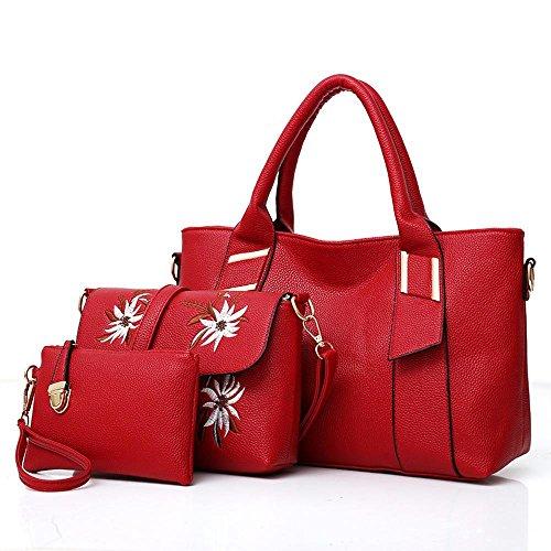 Aoligei mujeres bolsa de primavera de Europa y los Estados Unidos bordadas bolsas tres piezas hembra bolso de la mujer con el solo hombro Diagona Bolso de L