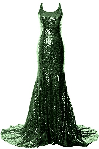 Dress Open MACloth Wedding Evening Women Long Mermaid Prom Dunkelgrun Back Formal Gown xBqOTUqn