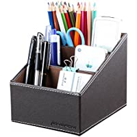 KINGFOM 3 Slot PU Leather Desk Remote Controller Holder Organizer; Home Sundries Storage Box; TV Guide/Mail/CD Organizer/Caddy/Holder with Free Cable Organizer (Brown)