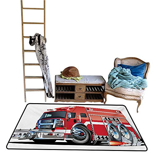 Fire Truck Hooked Rug - 5