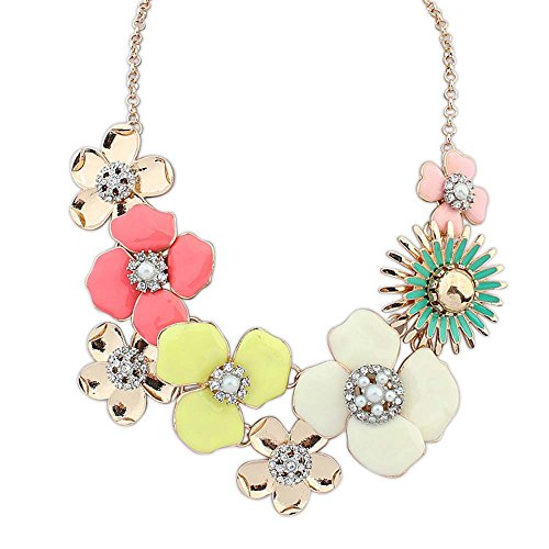 [The Starry Night Easy Dressing Multi Petals Gold Plated Sweet Color Flower Princess Necklace Suitable Womens] (Man Of The Nights Watch Costume)