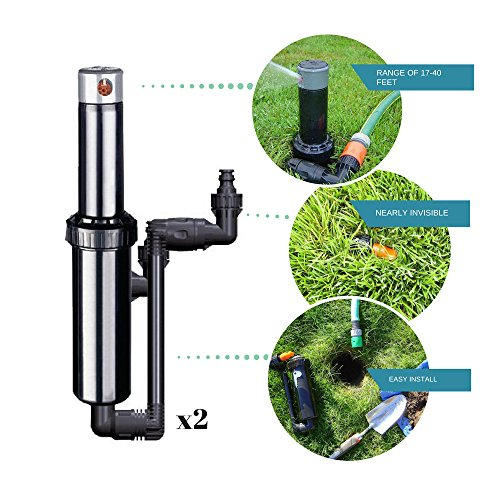 Quick-Snap In-Ground 5-Inch Pop-Up Adjustable Sprinkler 2-Pack With Quick Hose Connectors And Splitter, QSK-742 ()