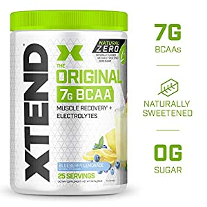 Scivation XTEND Natural Zero BCAA Powder Blueberry Lemonade   Free of Artificial Sweeteners, Flavors, and Chemical Dyes   Post Workout Drink with Amino Acids   7g BCAAs for Men & Women   25 Servings