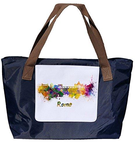 Shopper /Schultertasche / Einkaufstasche / Tragetasche / Umhängetasche aus Nylon in Navyblau - Größe 43x33cm - Motiv: Silhouette / Schriftzug in Wasserfarben Italien Rom - 01