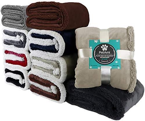 PetAmi - Manta impermeable para perros medianos, cachorros, gatos pequeños, manta suave de forro polar Sherpa para sofá, sofá | funda de cama para mascotas gruesa y duradera, alfombrilla para piso de 76 x 101 cm (ceniza) 8