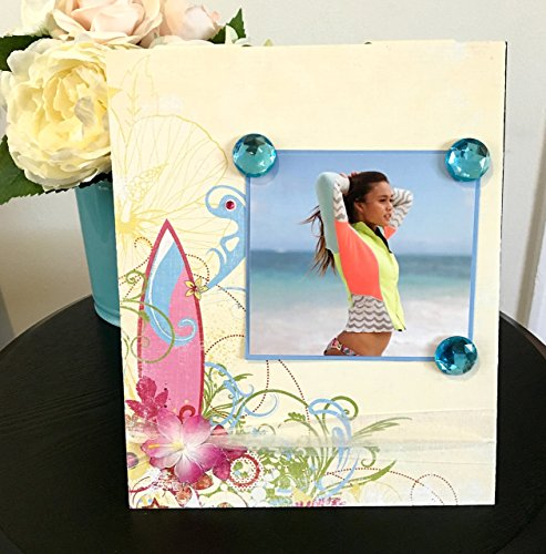 """Into the Reef Surfboard floral jeweled gift handmade magnetic picture frame holds 5"""" x 7"""" photo 9"""" x 11"""" size"""