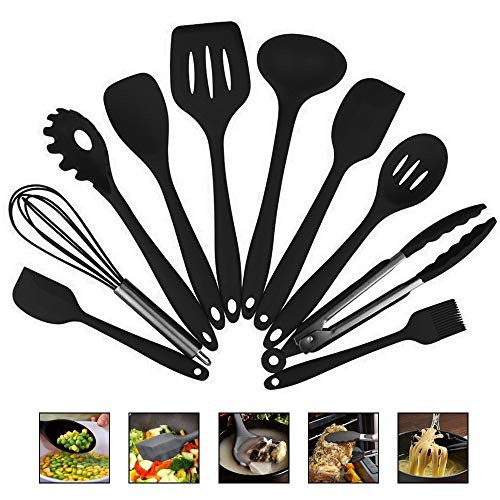 Fiesta Silicone Kitchen Utensils 10 Piece Cooking Utensil Set Spatula, Spoon, Ladle, Spaghetti Server, Slotted Turner. Cooking Tools: Spain, Black