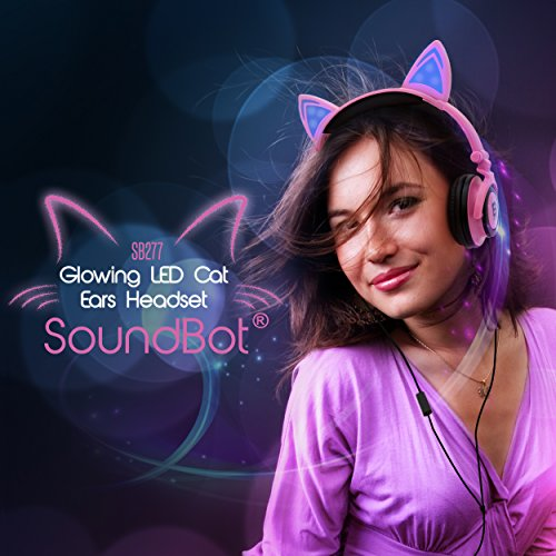 SoundBot SB277 Flashing Glowing LED Cat Ear Fordable Wired Over-Ear Headphone Headset w Crystal Clear Stereo Sound, Built-in Mic, 3.5mm Audio Jack for Cosplay Pink