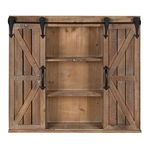 - Kate and Laurel Cates Wood Wall Storage Cabinet with Two Sliding Barn Doors, Rustic Brown