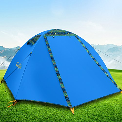 Campla Tent for Camping Outdoors,Backpacking Tents with LED Fit 2 3 Person 3 Season Lightweight Waterproof Tent for Family Mountaineering Hiking Traveling Easy Set-Up with Carrying Bag Blue