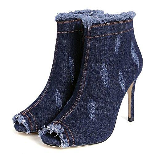 TAOFFEN Women Fashion Denim Peep Toe Stiletto Short Boots With Zipper Blue 0QCfc