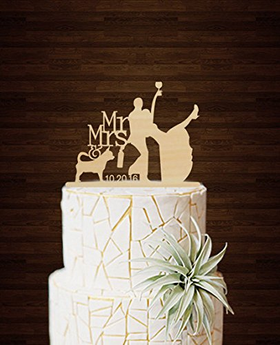 Amazon Com Funny Wedding Cake Toppers Silhouette Drunk Bride And
