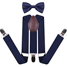 Leather Suspenders and Pre Tied Bowtie for Men Boys Kid Pant Braces for Trousers