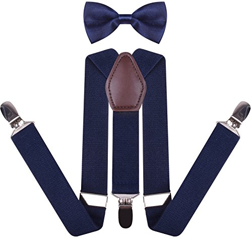 YJDS Men's Leather Suspenders and Pre Tied Bowtie Set Navy 49 -