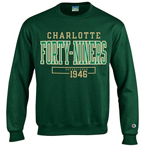 Champion NCAA Men's Long Sleeve Eco Powerblend Sweatshirt Unisex Officially Licensed Crewneck Fleece Charlotte 49ers Large