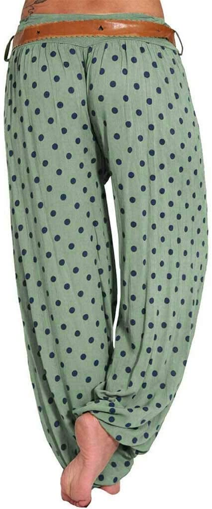 Womens Boho Pants Hippie Clothes Yoga Outfits Peacock Design One Size Fits Army Green