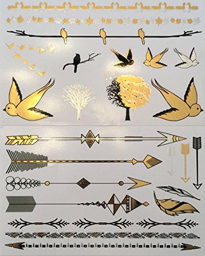 Métalliques tatouages temporaires (deux protocoles d) - Belle Tattoo Flash & Body Art - Black, Silver & Gold Tattoo Bijoux - tatouage à la mode Designs - Bracelets, géométriques Designs, bandes, des oiseaux, des arbres, des flèches, des plumes et Plus |