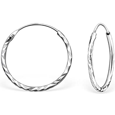 b642b3064 The Goldmine - Genuine 925 Sterling Silver Small 18mm Hinged Sleeper  Diamond Cut Hook Earrings incl. free Presentation Box and FREE UK delivery:  ...