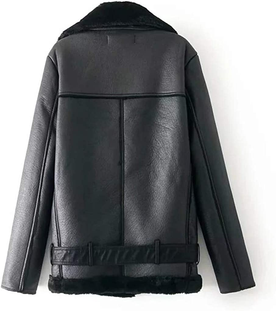 Women/'s Turn Down Collar Plush Zipper Jacket Long Sleeve Solid Coat Pocket Coat