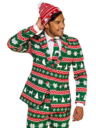 OppoSuits Christmas Suits for Men in Different Prints – Ugly Xmas Sweater Costumes Include Jacket Pants & Tie + Free Beanie