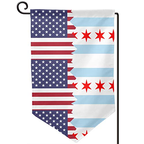 American Chicago Flag Fashion Outdoor/Indoor Demonstration Flag Gift Garden Flag 12.5