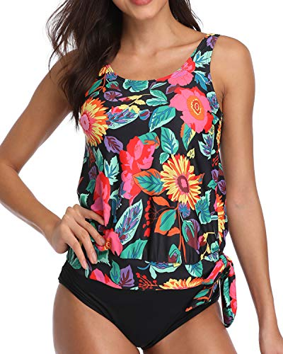 AnnJo Women Two Piece Scoop Neck Floral Print Blouson Tankini Swimsuits with Bikini Bottom Black Large