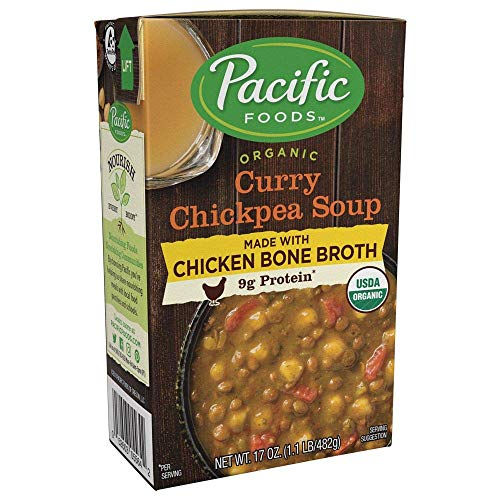 Pacific Foods Organic Bone Broth Curry Chickpea Soup, 9g protein per serving, bold seasonings, hearty & satisfying, 12-pack