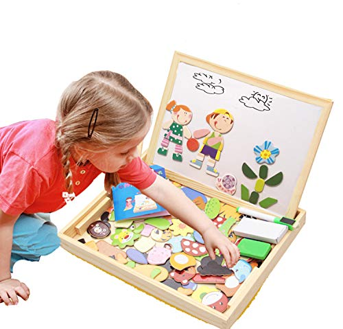 ODDODDY Educational Wooden Toys for Girls Boys Kids Children Toddlers Magnetic Drawing Board Puzzles Games Learning for Age 3 4 5 6 7 8 9 Year Old Gift Idea Birthday -