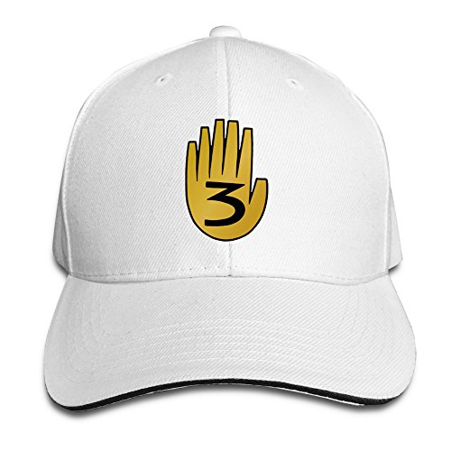 [BAI XUE Gravity Falls #3 Adjustable Casquette Baseball Hip Hop Cap White] (Sheriff Hats For Sale)
