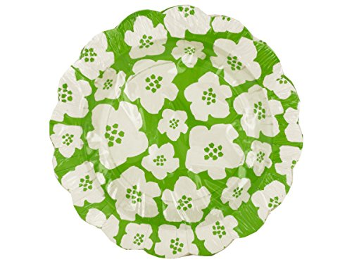 Green & White Floral Cocktail Plates-Package Quantity,72 by bulk buys