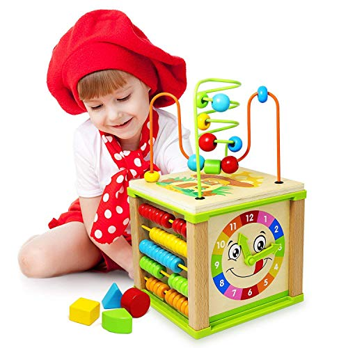 Sensory Activities Stimulation (Titiyogo 5-in-1 Activity Cube Toys Baby Educational Wooden Bead Maze Shape Sorter Toys for 1 Year Old Boys Girls Kids Toddlers Gifts Activity Center)