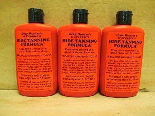 Dark Tanning Formula - 3 Pk Deer Hunter's & Trappers Hide Tanning Formula 8 Oz.