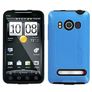 ASMYNA Solid Baby Blue/Black Fusion Protector Cover for HTC EVO 4G