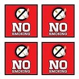(4 Pack) No Smoking Vinyl Stickers Sign, 6 x 6