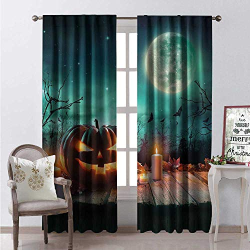 Hengshu Halloween Window Curtain Fabric Fantastic Magic Night Spooky Atmosphere Candles Pumpkin on Wooden Planks Print Drapes for Living Room W96 x L96 Multicolor -