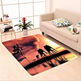 Nalahome Custom carpet Elephants Decor Elephant Silhouettes By A River Africa Animals Wildlife Adventure Landscape area rugs for Living Dining Room Bedroom Hallway Office Carpet (5' X 7')