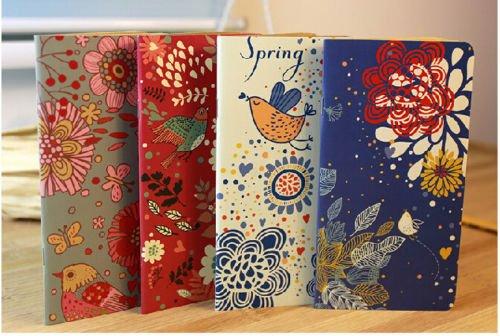 2-pcs-vintage-flower-bird-pocket-notebook-note-pads-schedule-book-diaries-journals