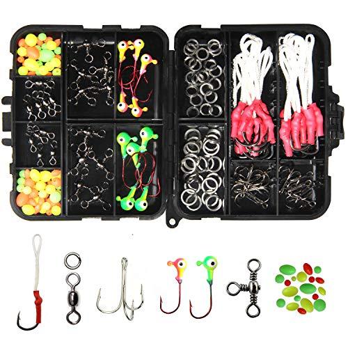Fishing Jig Bait Accessories Kit - Jig Assist Hooks Jig Head Double Split Rings Fishing Swivels Treble Hooks Beads Fishing Tackle Fishing Tool Set with Tackle Box for Jig Fishing