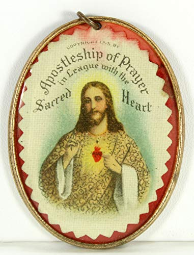 (Apostleship of Prayer Sacred Heart of Jesus Medal Vintage 1915 Metal Frame)