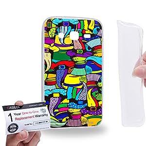 Case88 [Samsung Galaxy Core Prime G360] Gel TPU Carcasa/Funda & Tarjeta de garantía - Art Abstract Drawing Beaver Hat Top Hat 2581